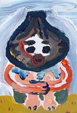 ヴォル君 Mr.vol, acrylic on canvas, 22.7×15.8㎝ 2018  Sold
