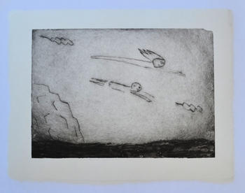 Flying, 18×26cm, collagraph, ink on handmade paper(小国和紙), 2020