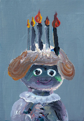 Praying 祈り 22,7×15.8cm, acrylic on canvas, 2018  Sold