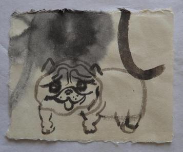 神の犬No.5, 16×19cm, chinese ink on handmade paper, 2015  Sold
