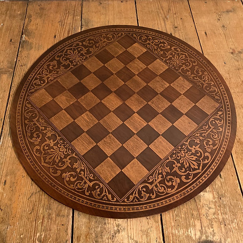 Large Round Inlaid Wooden Chess Board