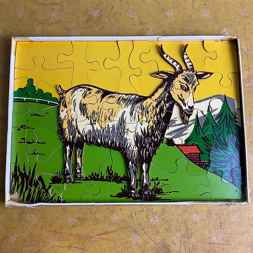 Vintage Wooden Goat Jigsaw