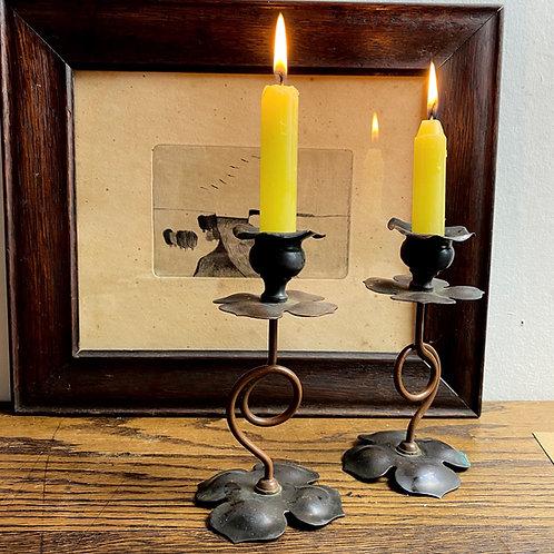 Pair of Small Art Nouveau Copper Candlesticks