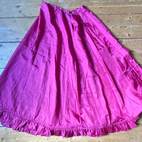 Antique Bright Pink Silk Taffeta Underskirt