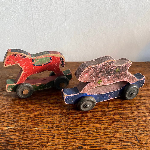 Pair of Antique Wooden Toys
