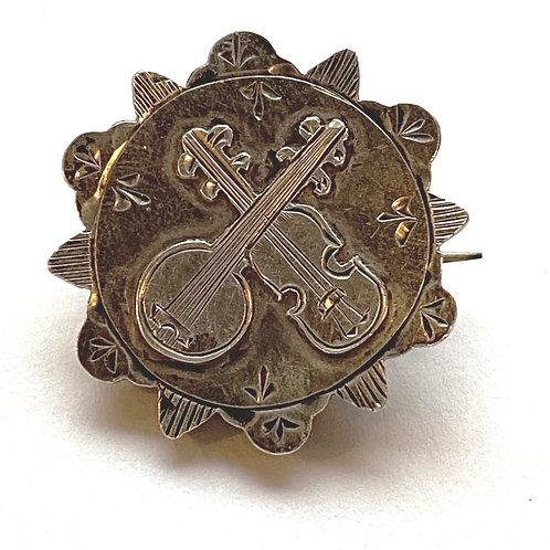Victorian Silver Minstrel Brooch