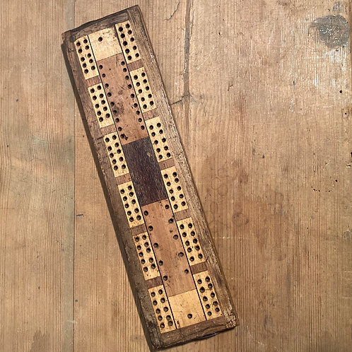 Small Vintage Inlaid Cribbage Board