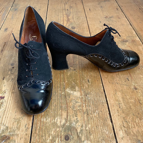 Vintage Leather and Suede Spool Heeled Brogues SOLD