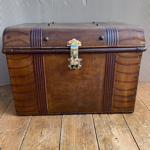 Antique Tin Trunk with Brass Lock