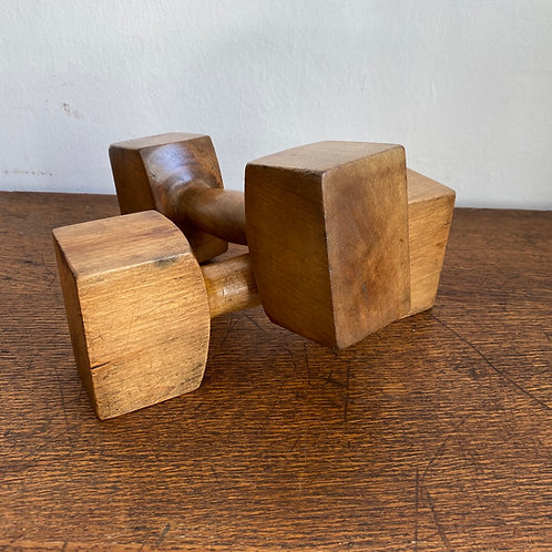 Pair of Antique Sycamore Dumbbells