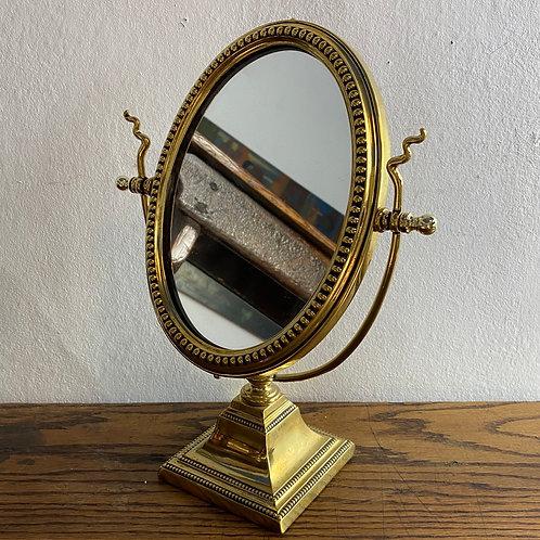 Antique Brass Framed Pedestal Mirror