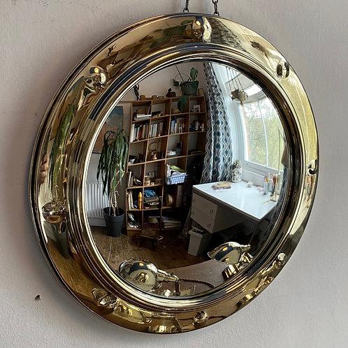 Vintage Brass Convex Porthole Mirror