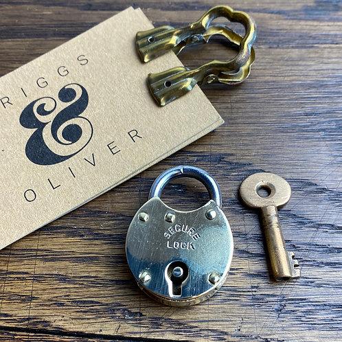 Tiny Vintage Brass Padlock & Key