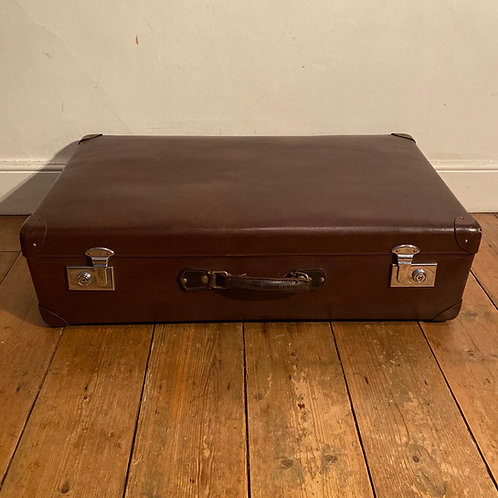 Large Vintage Brown Globe Trotter Suitcase