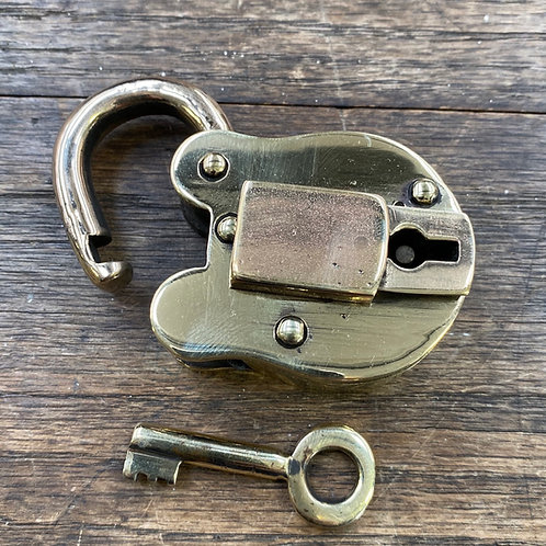 Large Brass Padlock and Key