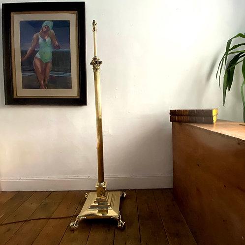 Antique Brass Corinthian Column Reading Lamp
