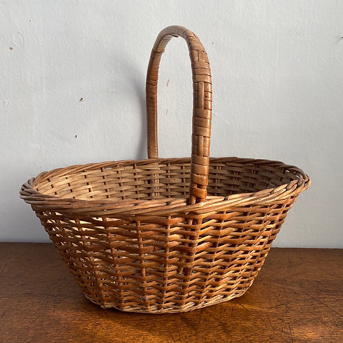 Vintage Long Handled Wicker Basket