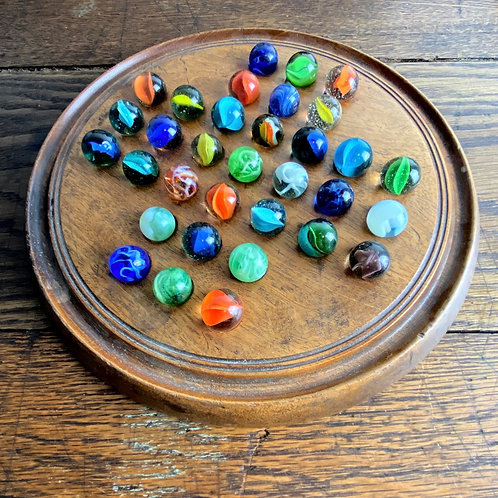 Vintage Solitaire Board and Marbles