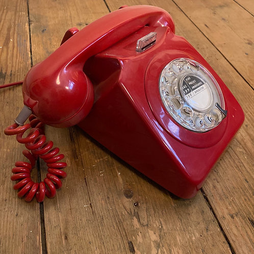 Vintage 1970's Bright Red Dial Telephone