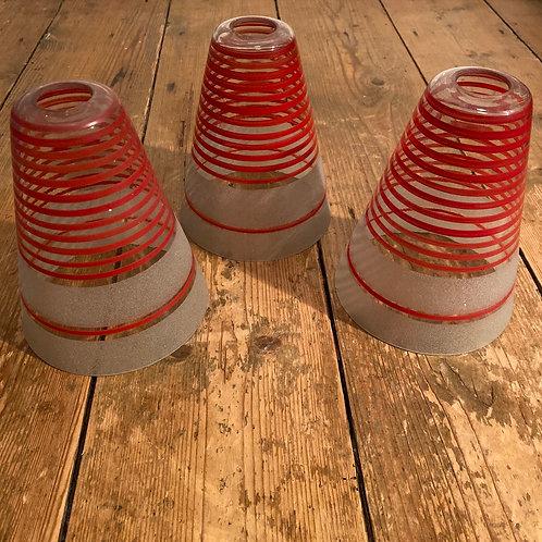 Set of Three 1950's Stripy Glass Shades