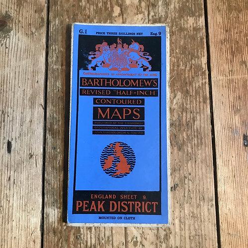 Vintage Bartholomew's Map of the Peak District