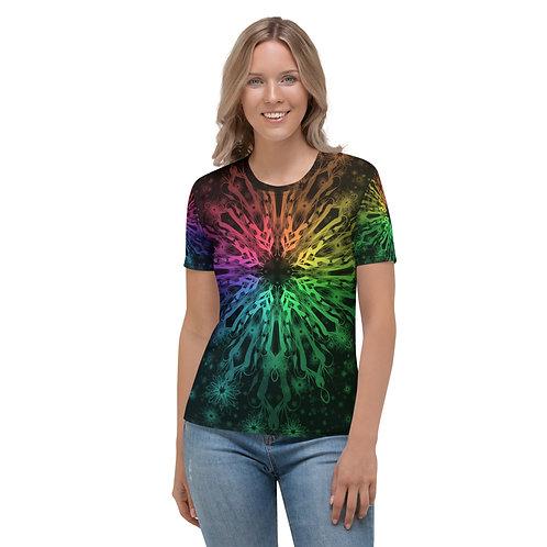 138V. Elegant Bromeliad Snowflake Colorwild IV Women's T-shirt