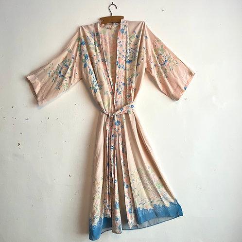 Vintage 1930's Silky Kimono Style Dressing Gown