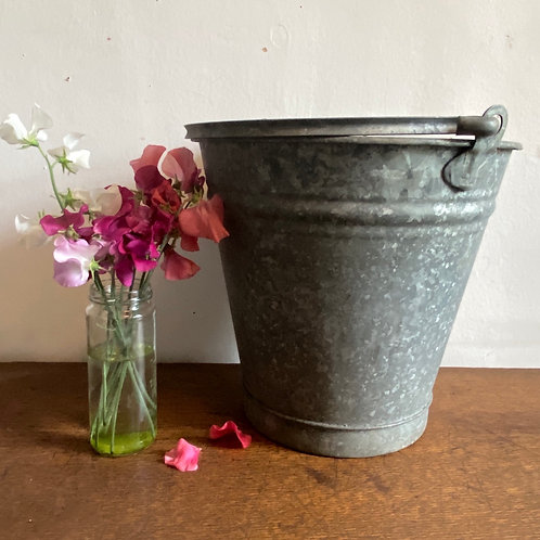 Large Vintage Galvanised Bucket