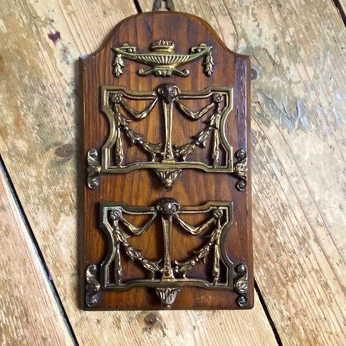 Victorian Brass and Oak Letter Rack