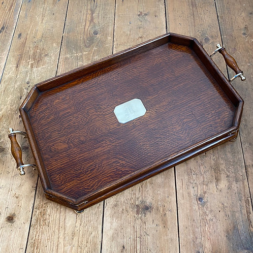1920's Oak and Brass Galleried Tray