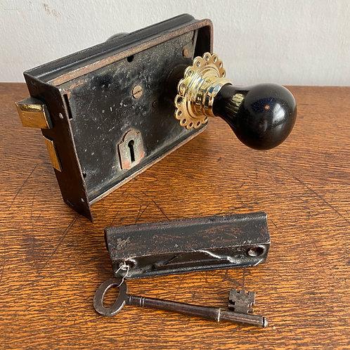 Antique Rim Lock with Ebony Doorknobs