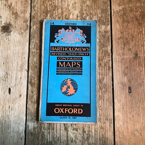Vintage Bartholomew's Map of Oxford