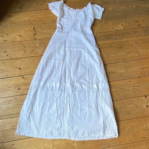 Antique White Cotton Broderie Anglaise Dress