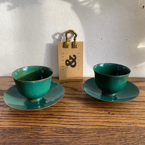 Pair of Vintage Enamel Tea Bowls