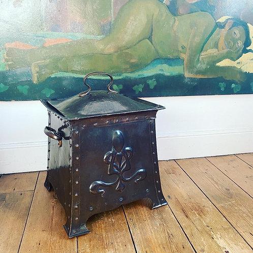 Art Nouveau Copper Coal Bucket
