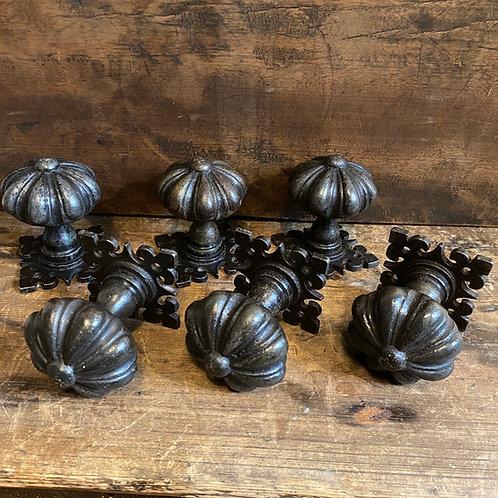 Three Pairs of Cast Iron Gothic Doorknobs