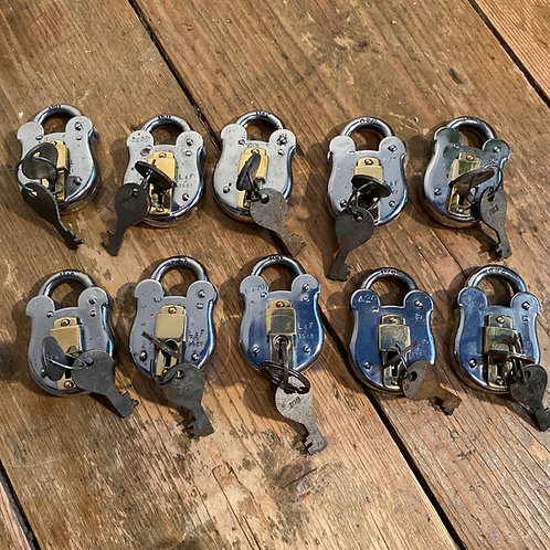 Polished 1962 Steel and Brass Army Padlock