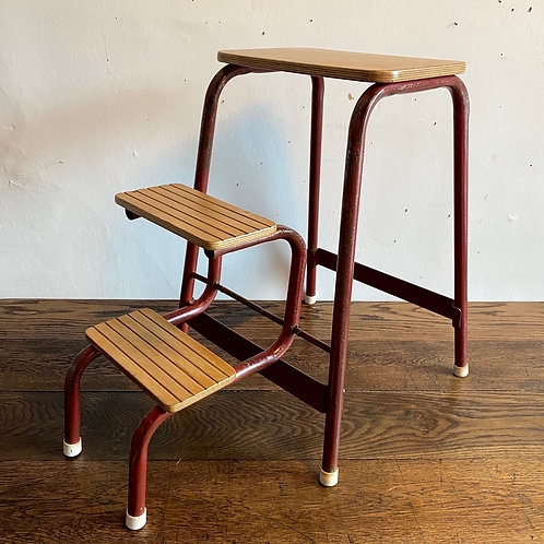 1950's Wood and Metal Folding Step Stool