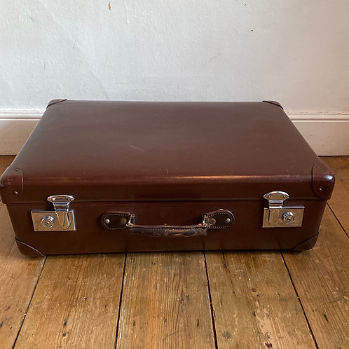 Small Vintage Brown Globe Trotter Suitcase