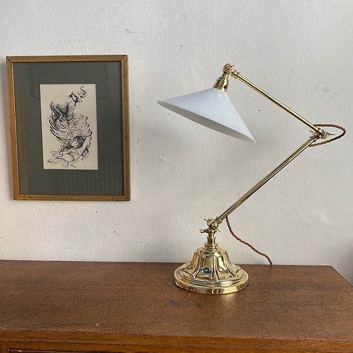 Adjustable Brass Reading Lamp with Coolie Shade