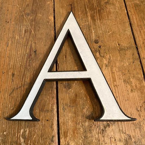 Antique Enamel and Bronze Letter A