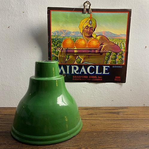 Vintage Green Enamel Industrial  Shade