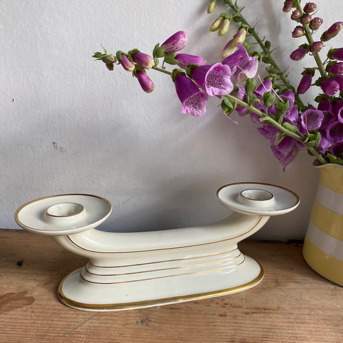 Vintage Ceramic Deco Inspired Double Candlestick
