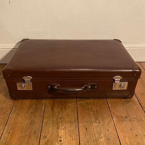 Vintage Brown Globe Trotter Suitcase