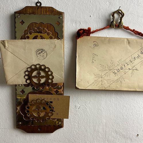 Oak and Brass Hanging Letter Rack