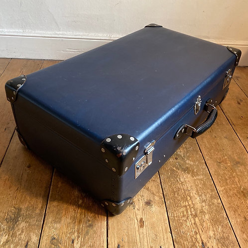 Large Antique Blue Globe Trotter Suitcase