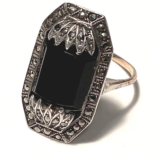 1930's Jet And Silver Marcasite Dress Ring