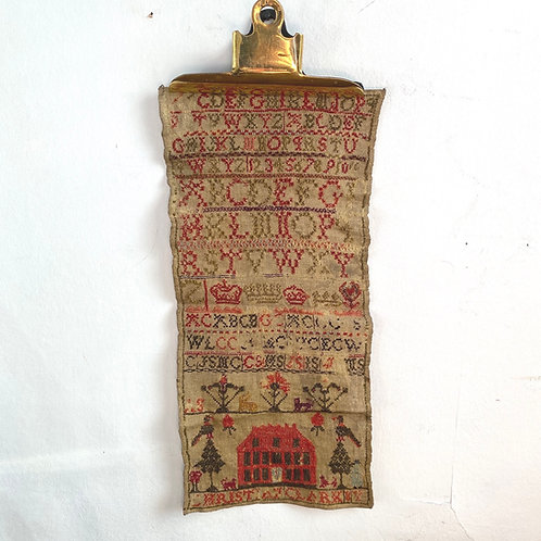 Antique Sampler with Red House