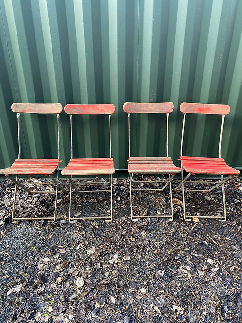 Set of  Four  Vintage Wood and Metal Folding Chairs
