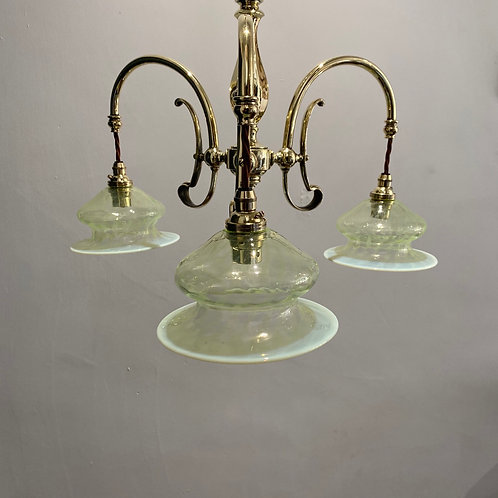Art Nouveau 3 Arm Chandelier